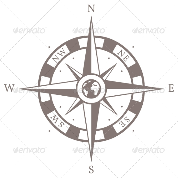 Vector Isolated Brown Wind Rose - Travel Conceptual
