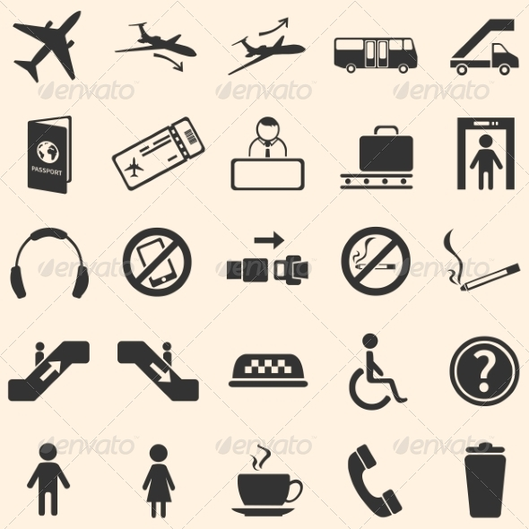 Vector Set of 25 Airport Icons - Miscellaneous Icons