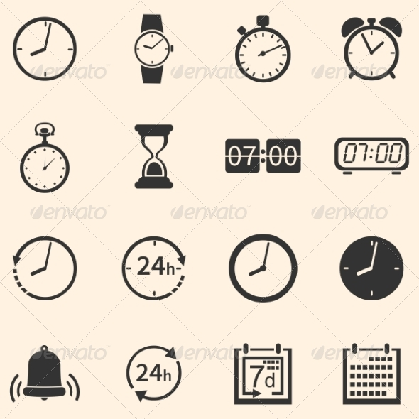 Vector Set of 16 Time Icons - Miscellaneous Icons