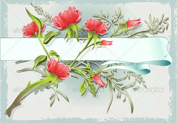 Vintage Flower Ornament with Banner - Flourishes / Swirls Decorative
