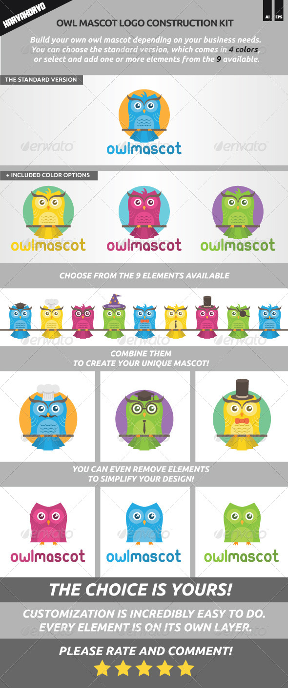 Owl Mascot Logo Construction Kit - Animals Logo Templates
