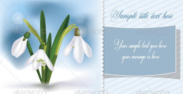 Snowdrops Spring Card - Vectors