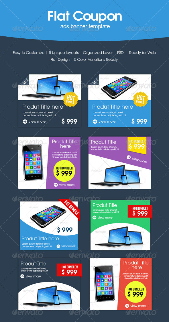 Flat Coupon Sale - Banners & Ads Web Elements