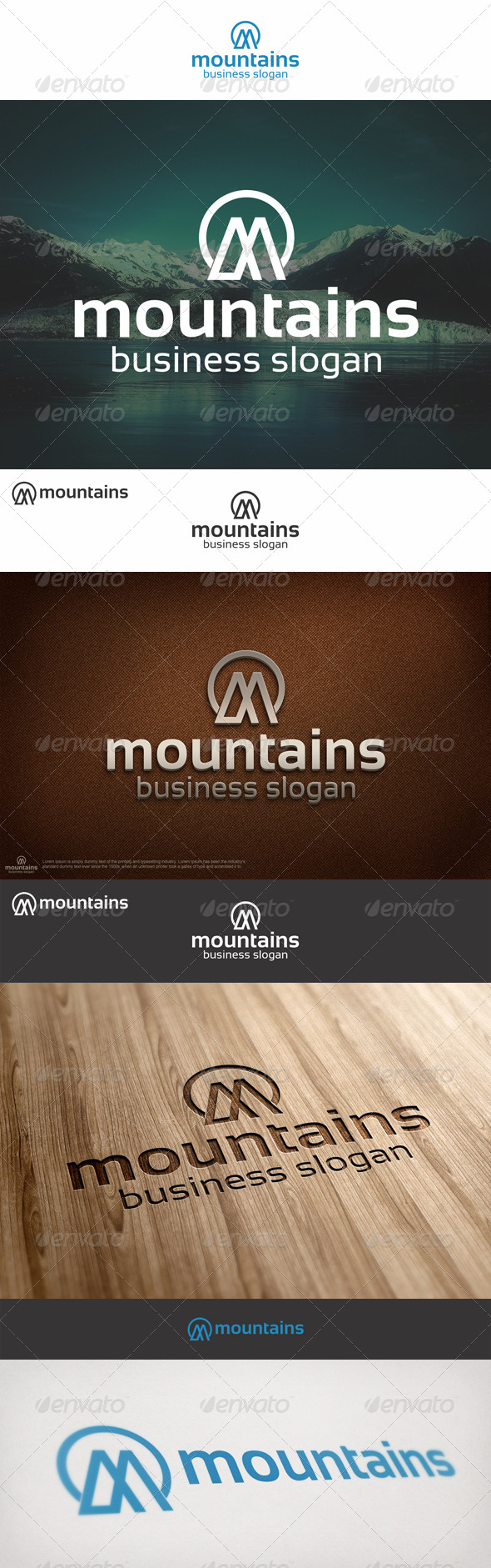 Mountains Logo M Letter - Nature Logo Templates