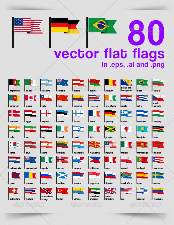 80 Vector Flat Flags - Vectors