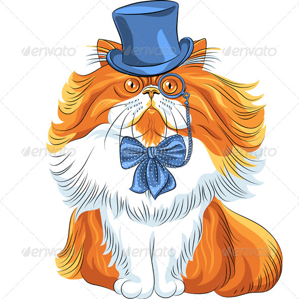 Cartoon Hipster Persian Cat - Animals Characters