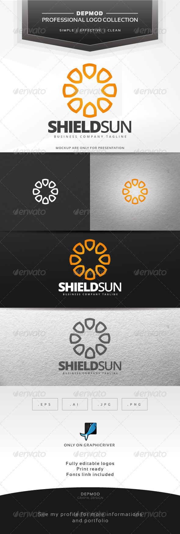 Shield Sun Logo - Symbols Logo Templates