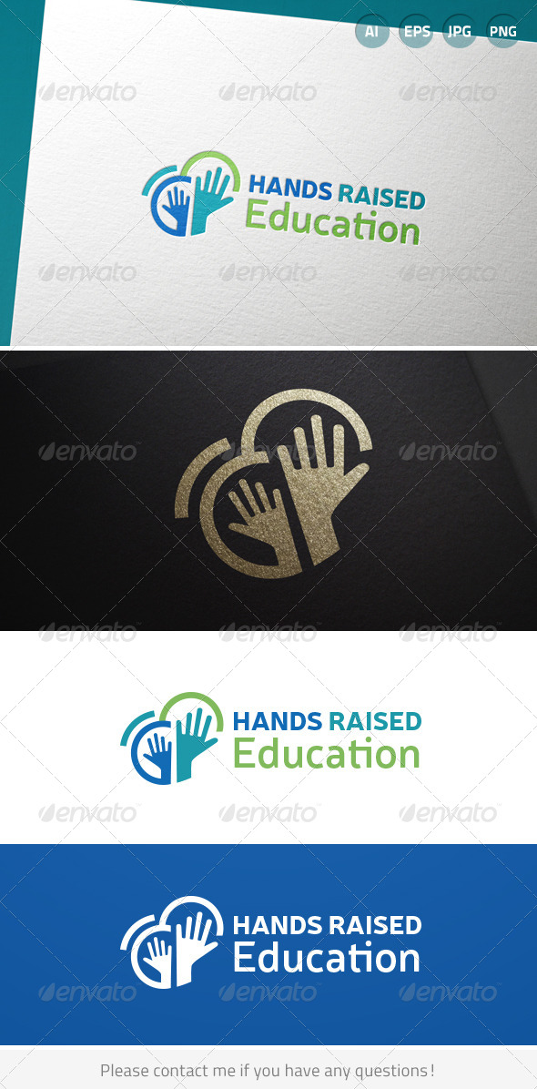 Hands Raised Education Logo - Humans Logo Templates