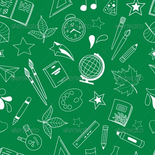 Seamless Pattern with School Doodles - Patterns Decorative