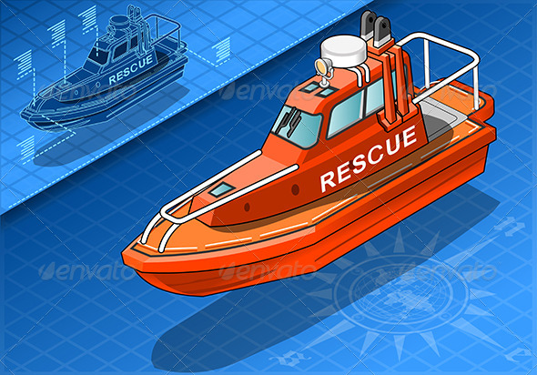 Isometric Rescue Boat Isolated in Front View - Objects Vectors