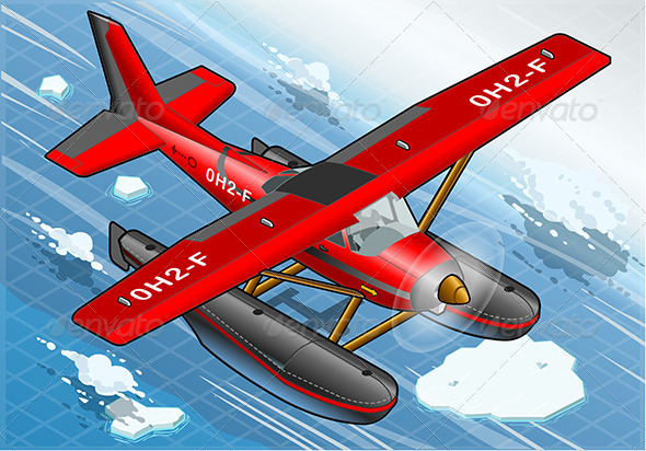Isometric Artic Hydroplane in Flight in Front View - Objects Vectors