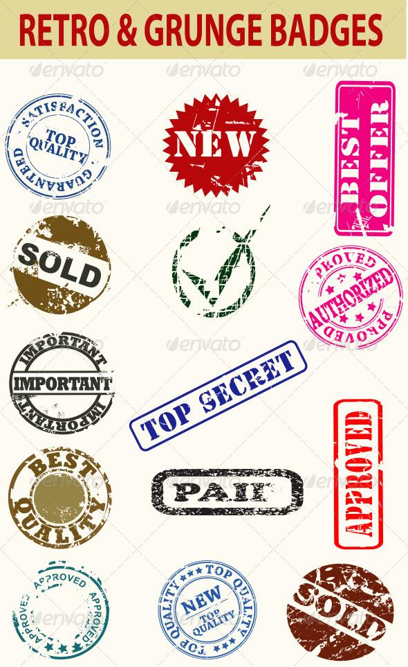 Retro and Grunge Badges - Web Elements Vectors
