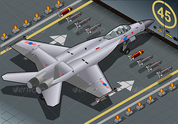 Isometric Fighter Bomber Landed in Rear View - Objects Vectors