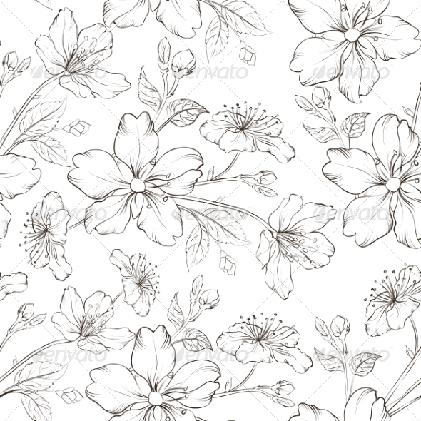 Cherry Blossom Seamless Pattern - Flowers & Plants Nature