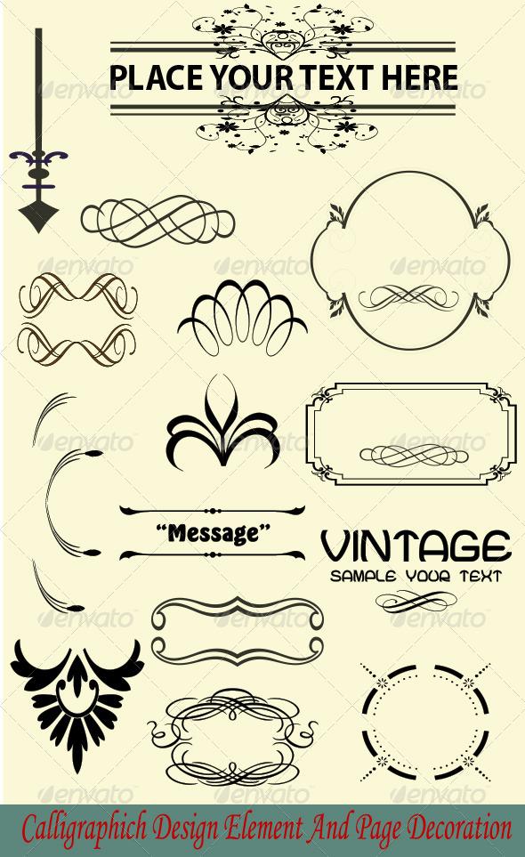 Calligraphic and Vintage Design Element - Flourishes / Swirls Decorative