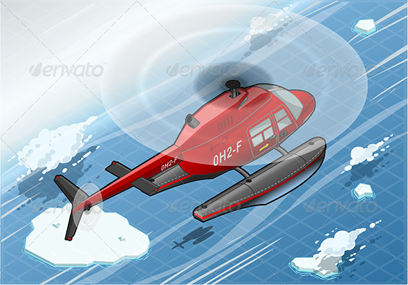 Isometric Arctic Emergency Helicopter in Flight - Objects Vectors