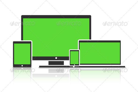 Flat Device Mockup - Web Technology