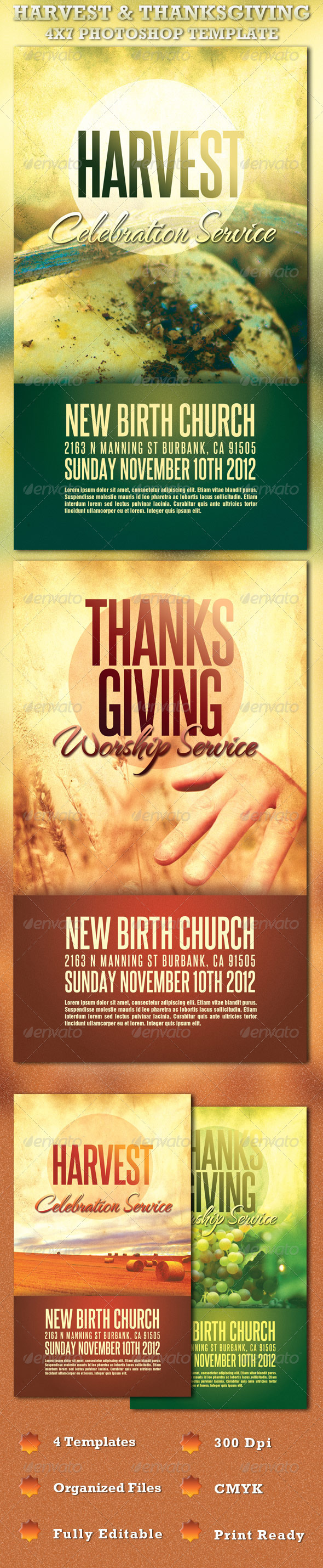 Harvest and Thanksgiving Church Flyer Template - Church Flyers