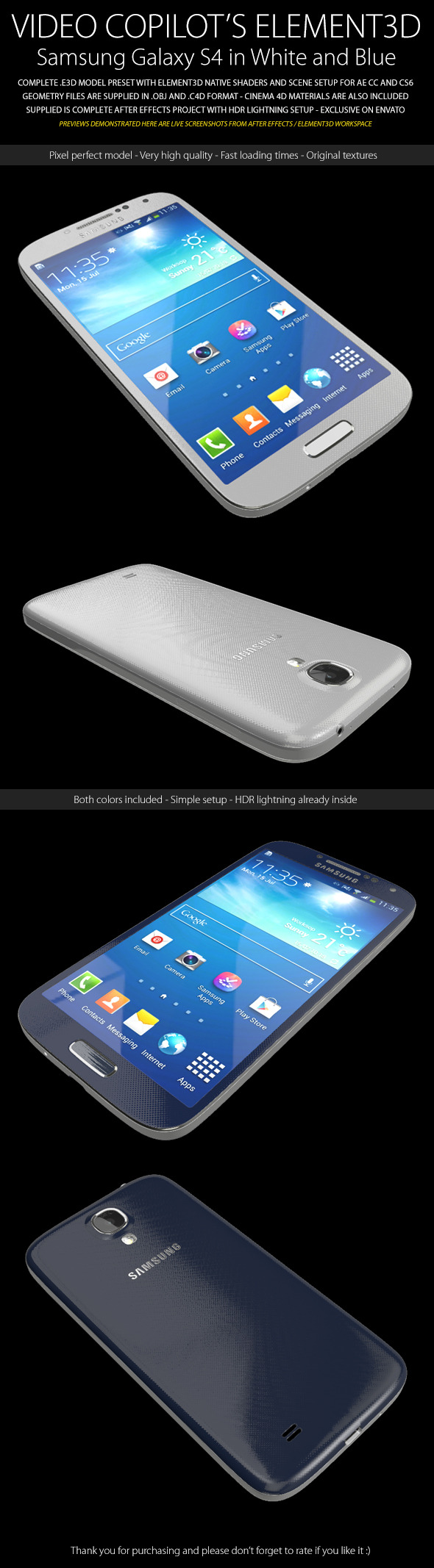 Element3D - Samsung Galaxy S4 - 3DOcean Item for Sale