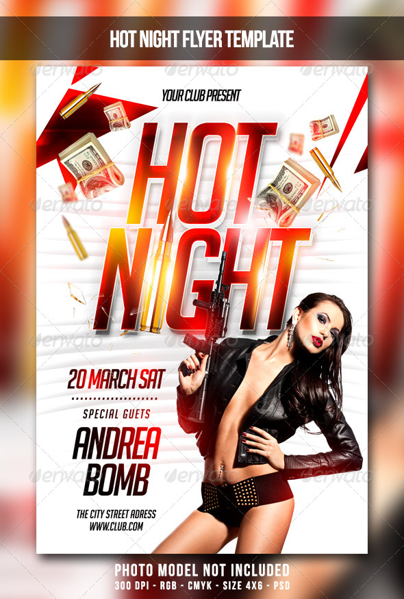 Hot Night Flyer - Clubs & Parties Events