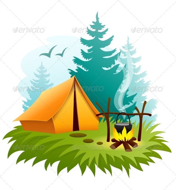 Camping in Forest with Tent and Campfire - Landscapes Nature