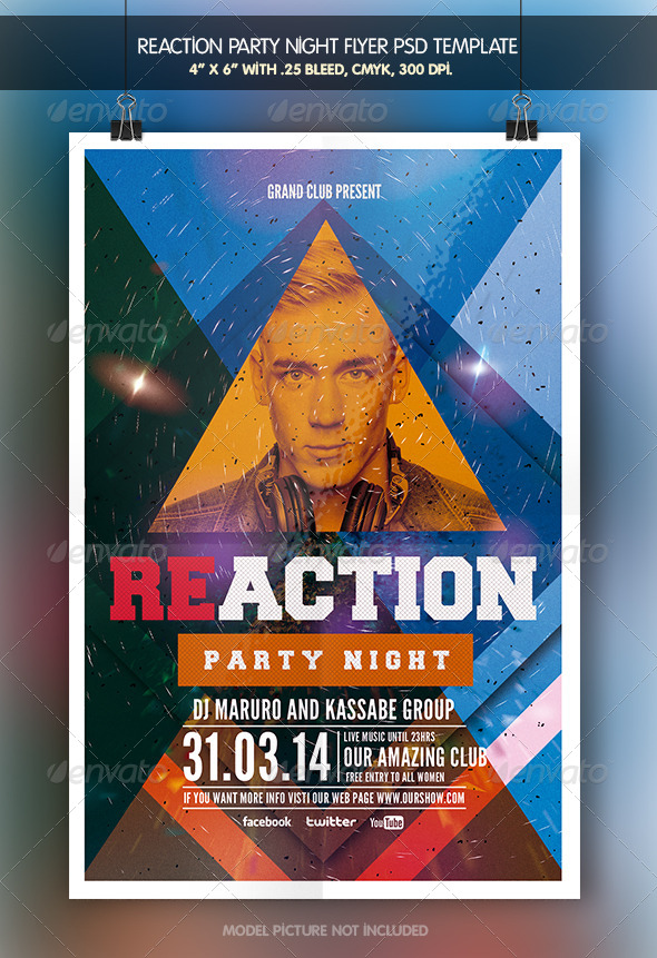 Reaction Party | Flyer Template - Clubs & Parties Events