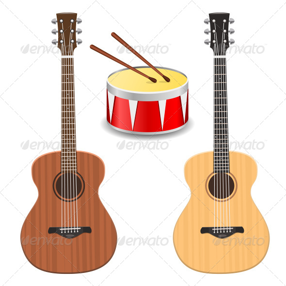 Two Guitars with Drum - Objects Vectors