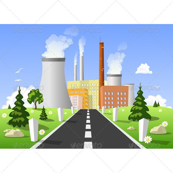 Illustration of Power Plant - Buildings Objects