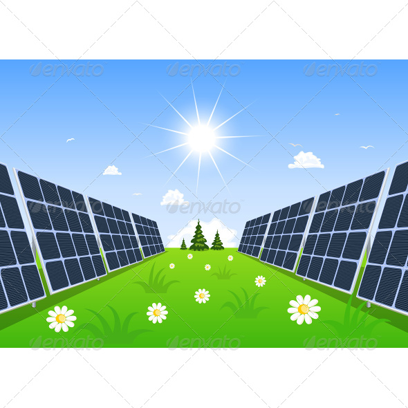 Solar Panel Produces Green Energy From the Sun - Technology Conceptual