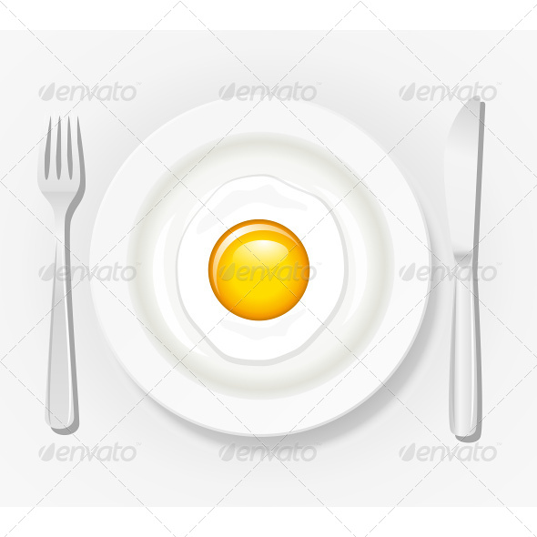 Egg on a Plate with Cutlery - Food Objects