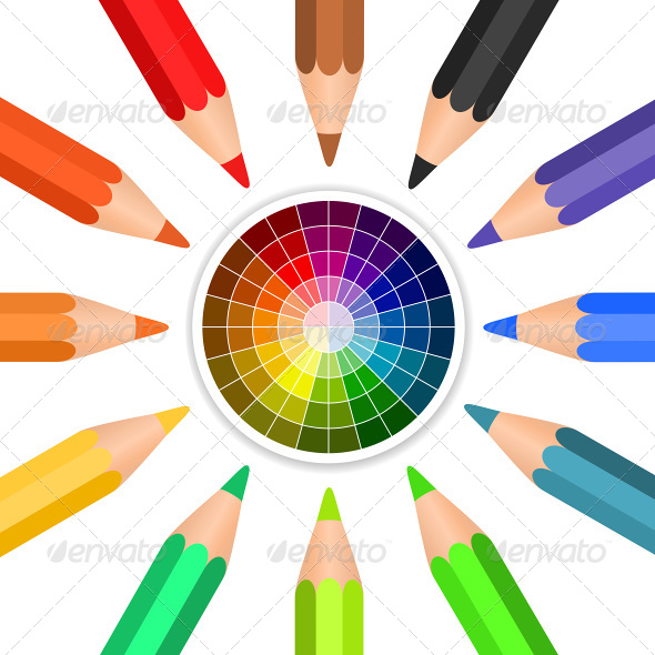 Colored Pencils Arranged in a Circle - Objects Vectors