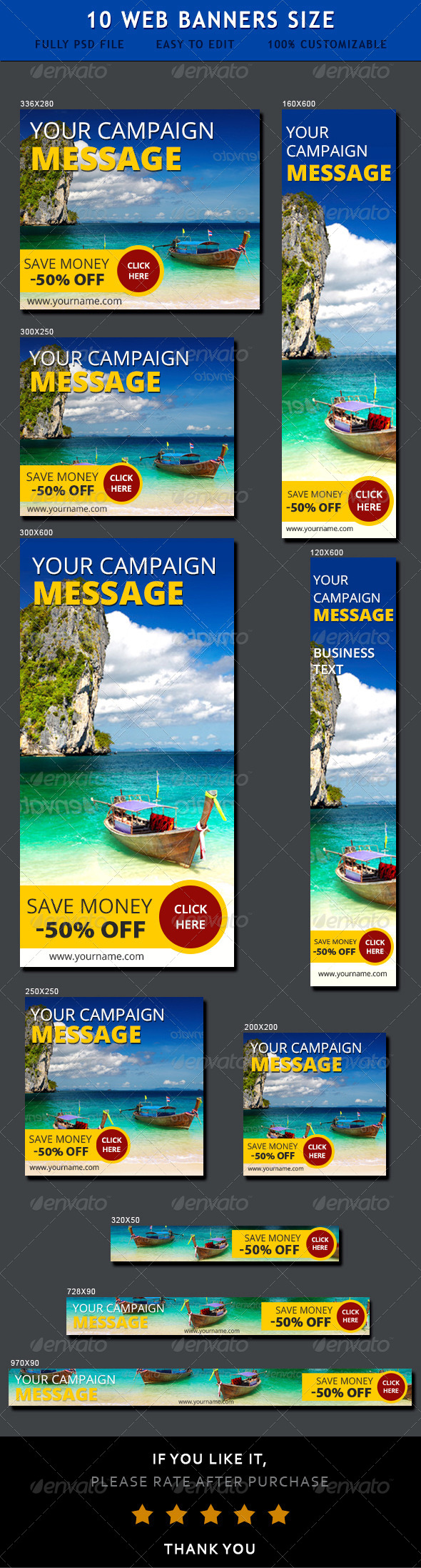 Travel Web Ad Banners - Banners & Ads Web Elements