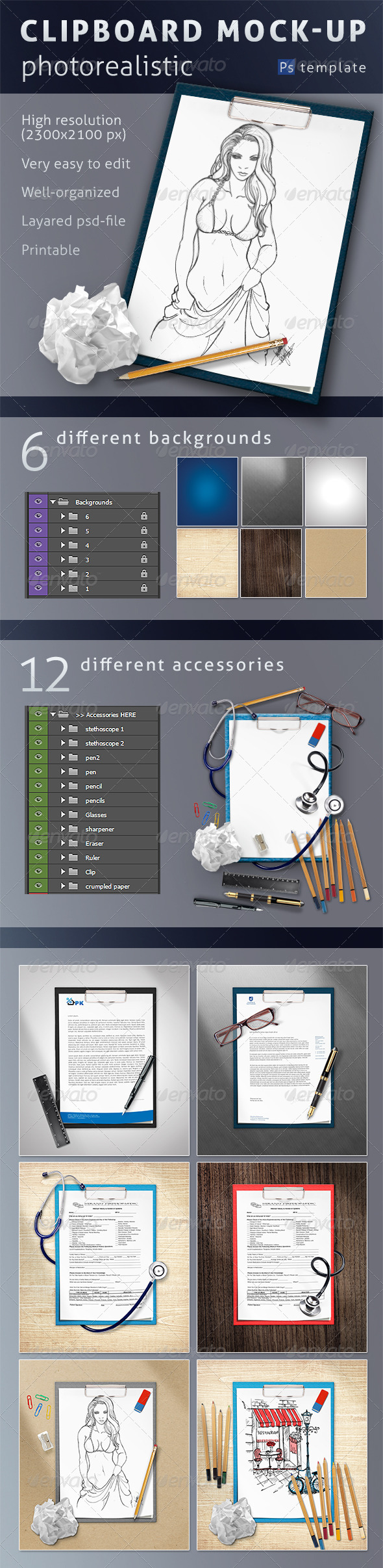 Photorealistic Clipboard Mock-up - Product Mock-Ups Graphics