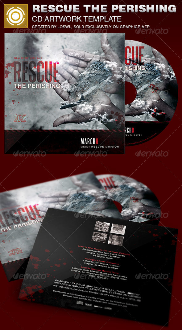 Rescue the Perishing Charity CD Artwork Template - CD & DVD Artwork Print Templates