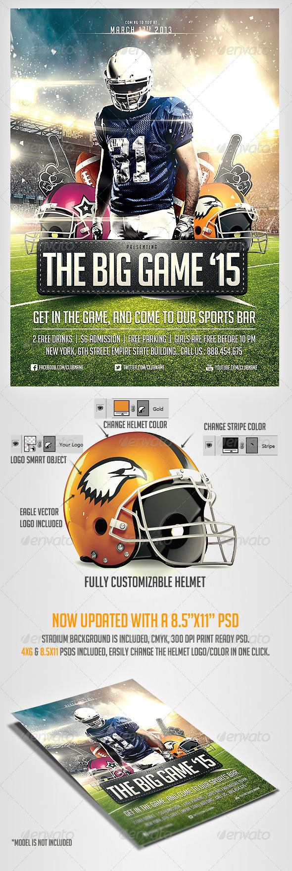 Big Game Football Flyer Template - Sports Events