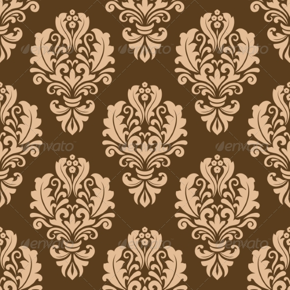 Repeat Floral Motifs on a Brown Background - Patterns Decorative
