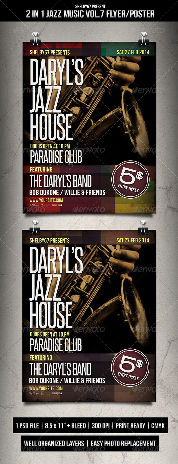 2 in 1 Jazz Music Flyer / Poster Vol.7 - Events Flyers