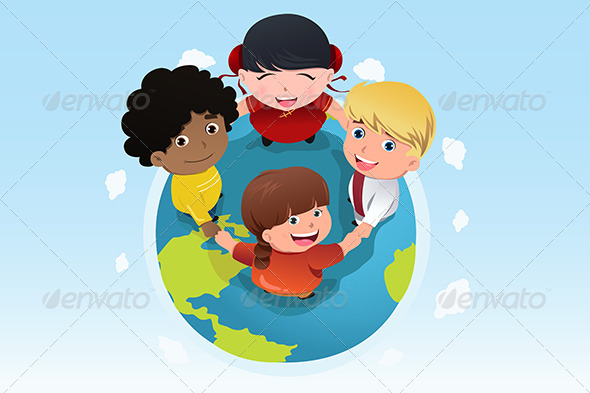 Multi Ethnic Kids Holding Hands Together - Conceptual Vectors