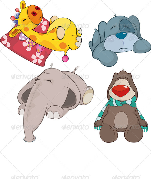 Set of Soft Toys Cartoon - Animals Characters