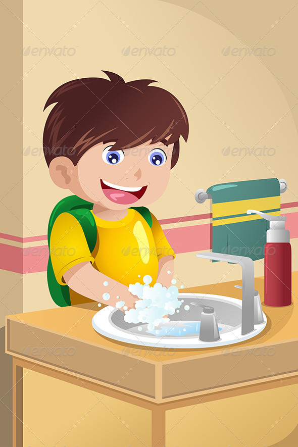Little Boy Washing Hands - Health/Medicine Conceptual