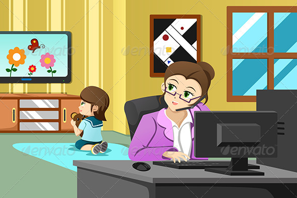 Mother Working in the Office - People Characters