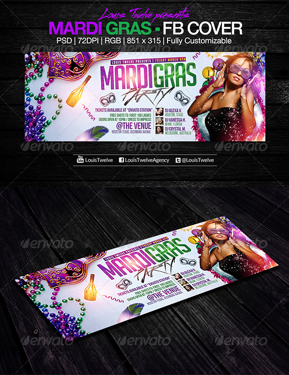 Mardi Gras / Carnival Party | Facebook Cover - Facebook Timeline Covers Social Media