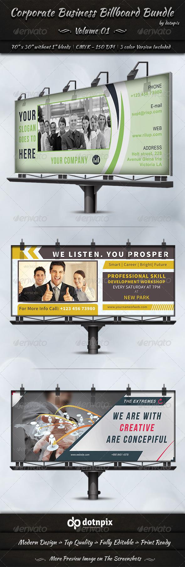 Corporate Business Billboard Bundle | Volume 1 - Signage Print Templates