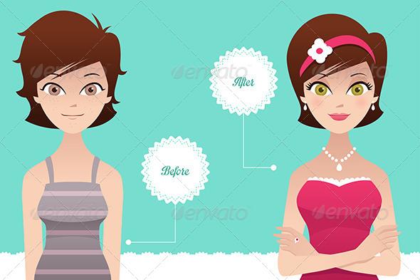 Before and After: Makeup - Conceptual Vectors