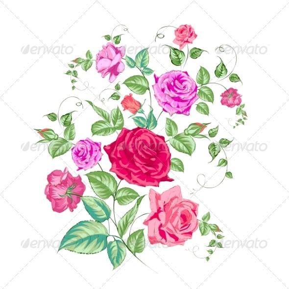 Roses Branch, Floral Background. - Flourishes / Swirls Decorative