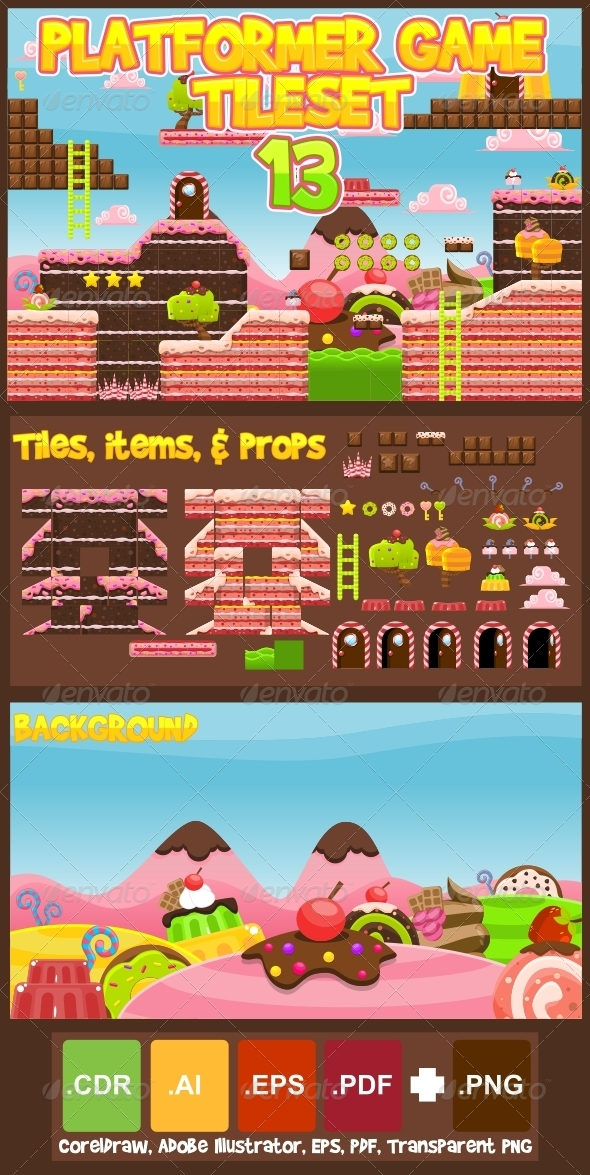 Platformer Game Tile Set 13 - Tilesets Game Assets