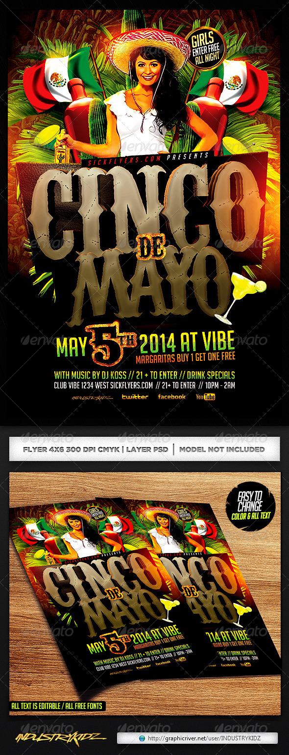 Cinco de Mayo Party Flyer Template - Holidays Events