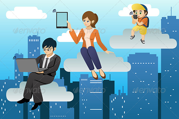 People Using Different Mobile Device in Clouds  - Technology Conceptual