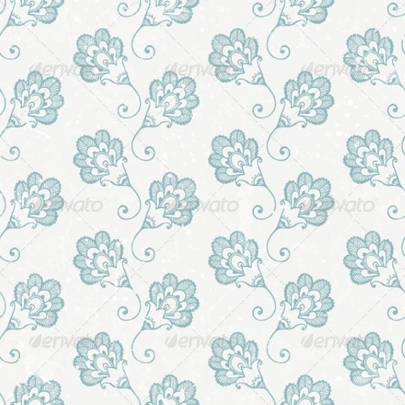 Grunge Seamless Wallpaper with Retro Print - Flourishes / Swirls Decorative