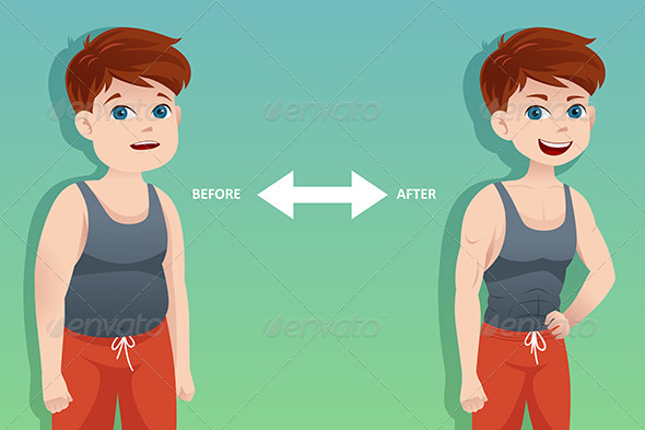 Before and After: Weight Loss - Conceptual Vectors